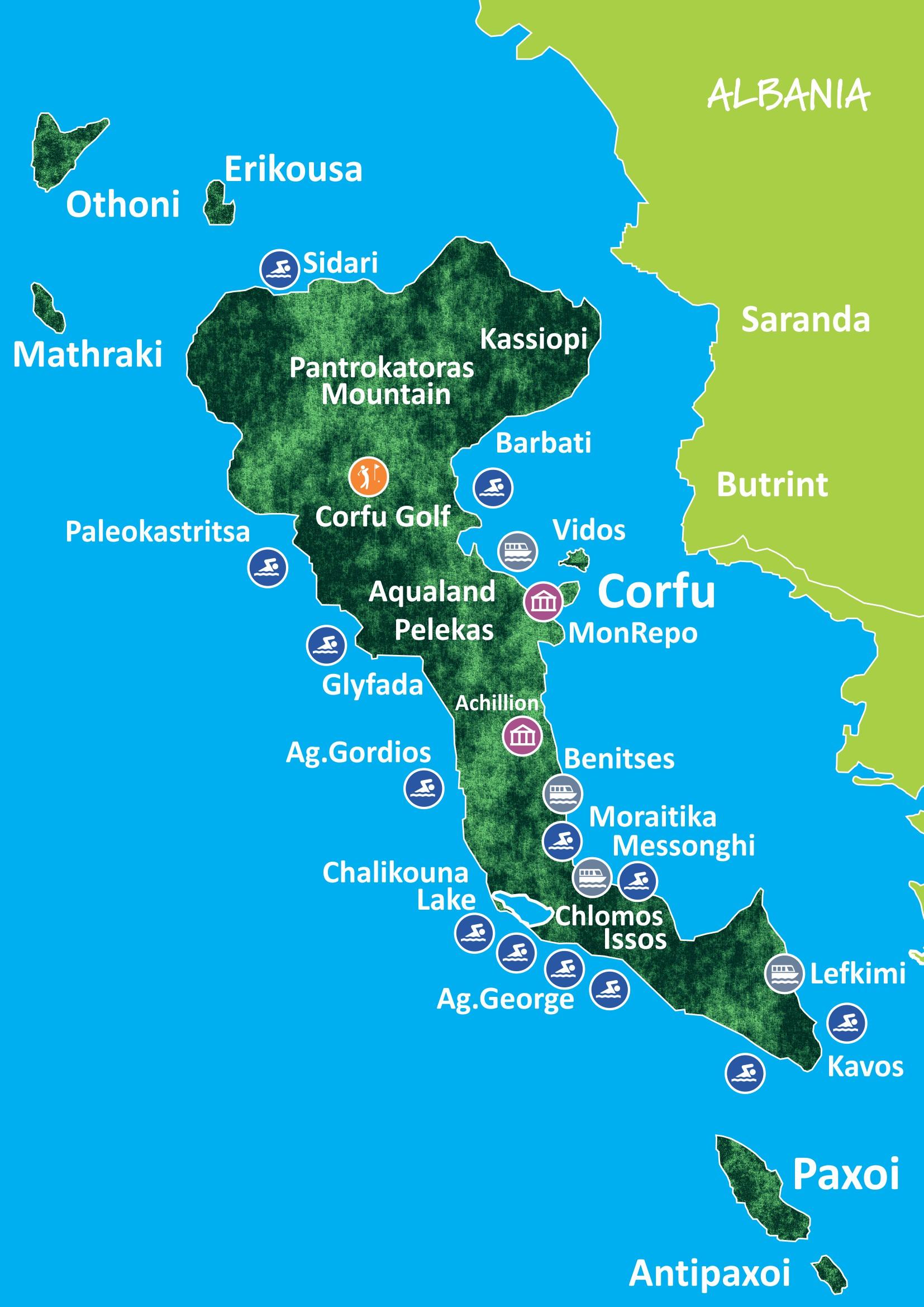 CorfuTrips.com Map Of Corfu Achilleion on ferry from saranda to corfu, acharavi beach corfu, canal d'amour corfu, greek island corfu, things to do in corfu, best hotels in corfu, achilles corfu, royal palace on corfu, paleokastritsa corfu, greece corfu,